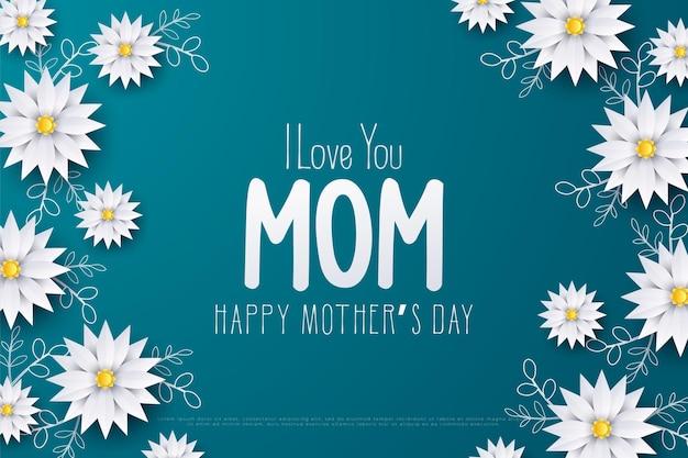 Fête des mères avec les mots je t'aime maman et tournesols blancs.