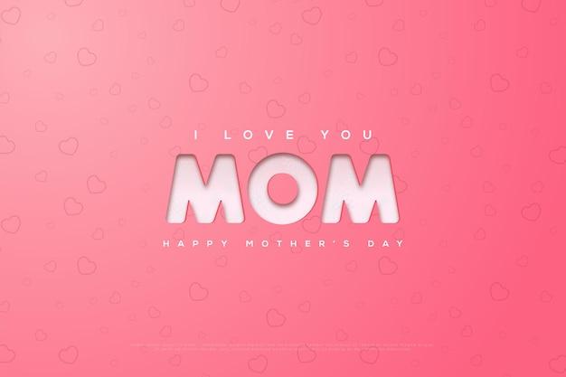 Fête des mères avec simple je t'aime écrit sur un rose vif