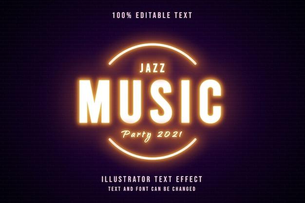 Fête de la musique jazz 2021,3d effet de texte modifiable dégradé jaune style de texte néon violet