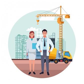 Fête nationale du travail emploi occupation célébration nationale, médecins collègues travailleurs en avant ville construction vue illustration