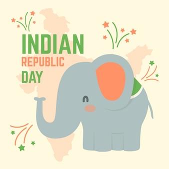 Fête nationale indienne du 26 janvier et éléphant