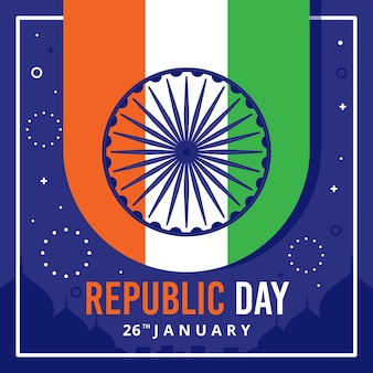 Fête nationale indienne du 26 janvier et feux d'artifice
