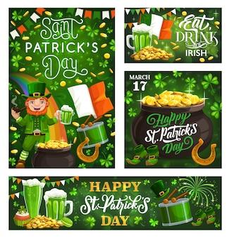 Fête nationale de l'irlande saint patricks day lettrage salutations et symboles de fest