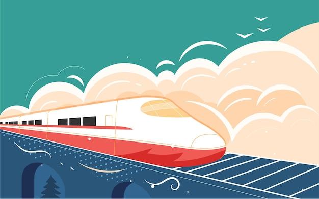 Fête nationale vacances départ train touristique illustration train à grande vitesse voyage au printemps affiche à la maison