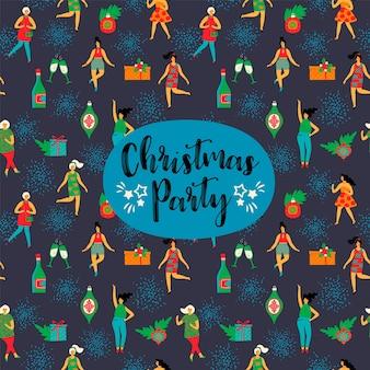 Fête de noël. élément de design vectoriel avec des femmes dansantes et des symboles du nouvel an.