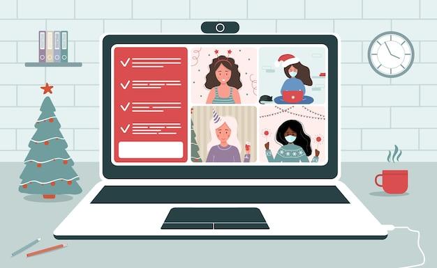 Fête de noël en ligne. femmes célébrant le nouvel an sur le chat vidéo.