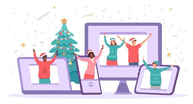 Fête de noël virtuelle. les gens heureux célèbrent le nouvel an en toute sécurité. rassemblement de chat vidéo d'amis, concept de vecteur de célébration de vacances de quarantaine. gadgets comme ordinateur, ordinateur portable, tablette pour la communication