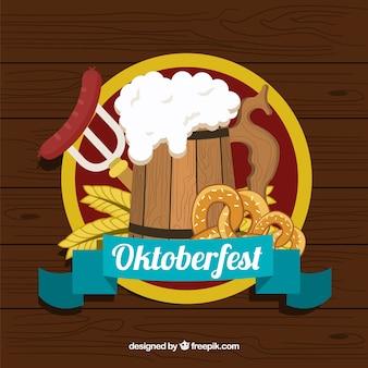Fête de l'oktoberfest avec de la bière, du saucisson et du bretzel