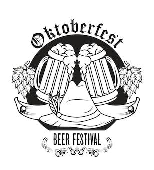 Fête de l'oktoberfest avec chapeau tyrolien et dessin de bières.