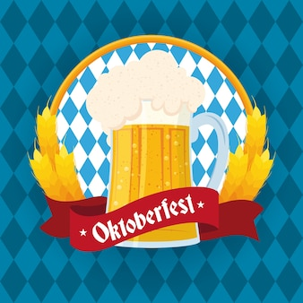 Fête de l'oktoberfest lettrage en ruban avec emblème de pot de bière vector illustration design