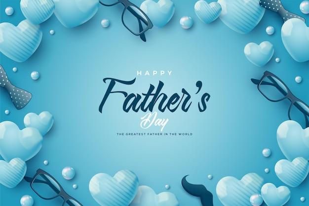 Fête des pères bleue avec coffrets cadeaux et ballons bleus.
