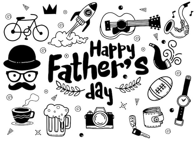 Fête des pères. collection de dessins à la main d'accessoires masculins sur fond