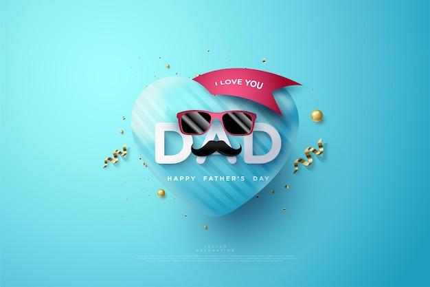 Fête des pères avec l'écriture je t'aime papa et avec des lunettes rouges.