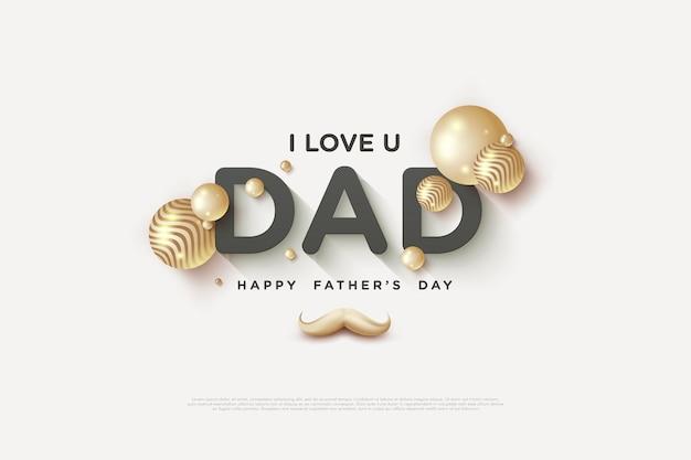Fête des pères avec une écriture luxueuse en noir et or.