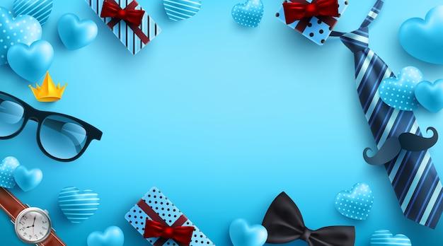 Fête des pères fond bleu avec flatlay de lunettes, cravate, montre et cadeaux pour papa