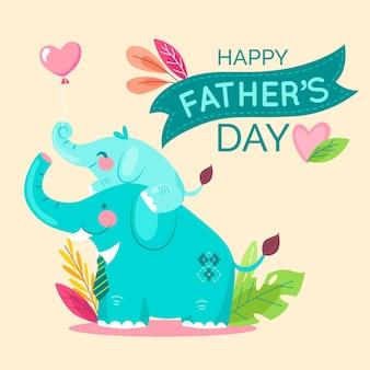 Fête des pères heureux avec les éléphants