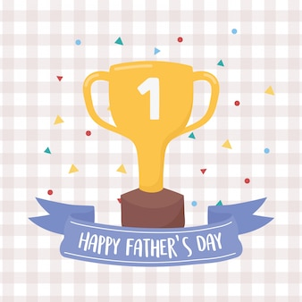 Fête des pères heureux, gagnant du trophée d'or confettis célébration fond damier