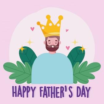 Fête des pères heureux, papa barbu avec carte de coeurs d'amour couronne