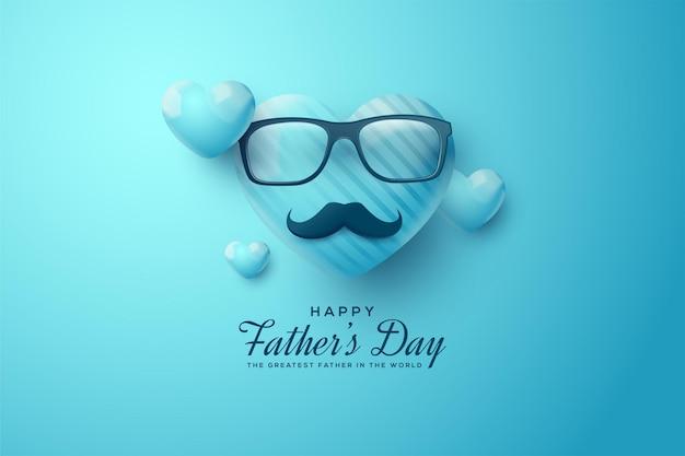 Fête des pères avec une illustration de ballon, des lunettes et une moustache.