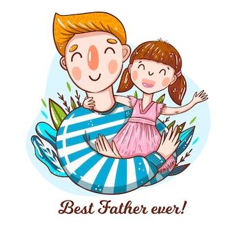 Fête des pères avec papa et enfant