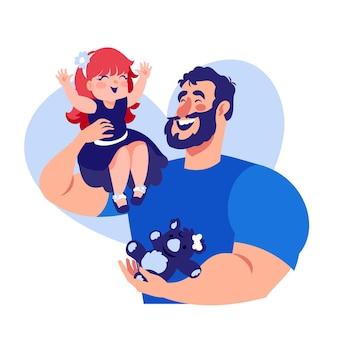 Fête des pères avec papa et fille