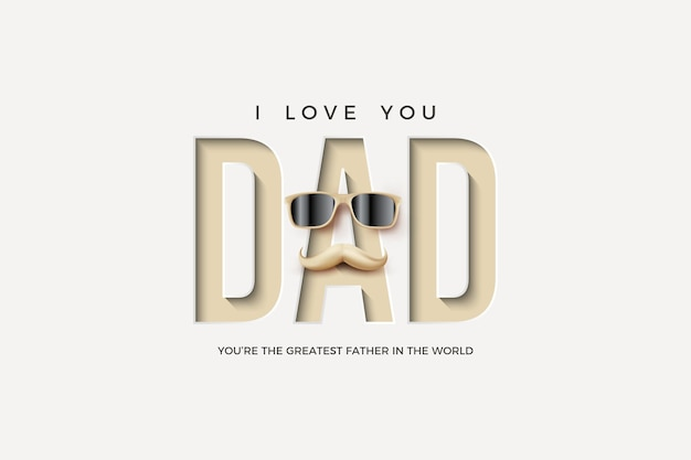 Fête des pères avec presse papier et illustration de lunettes et moustache.