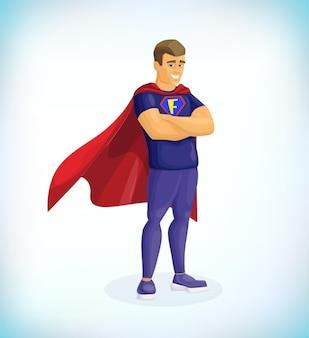 Fête Des Pères Super Papa Papa En Costume De Super Héros Héros Vecteur Premium