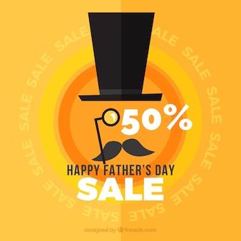 Fête des pères vente fond avec chapeau et moustache