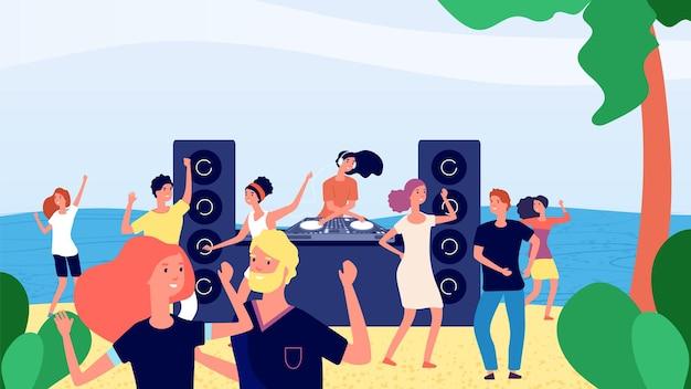 Fête sur la plage. jeunes adolescents dansant