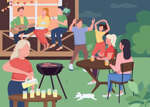 Fête en plein air avec des amis illustration couleur plat été près des activités à la maison faire un barbecue chanter des chansons et danser des personnages de dessins animés de l'amitié d avec maison sur fond