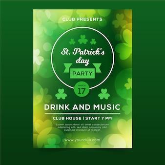 Fête de la saint-patrick floue boisson verte et flyer de musique avec des trèfles
