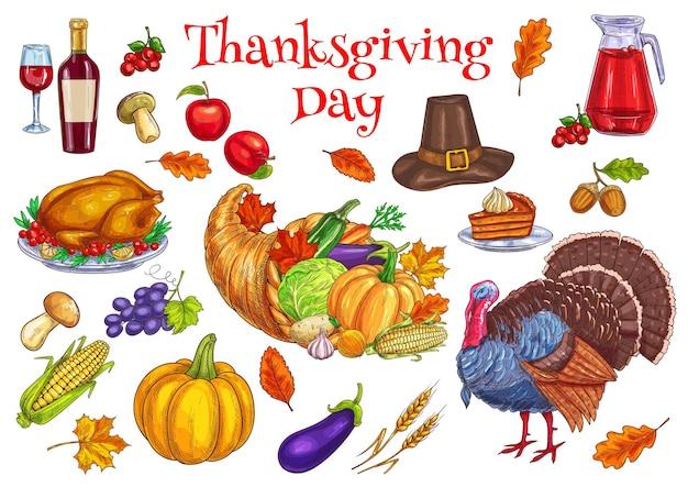 Fête traditionnelle de thanksgiving. dinde, corne d'abondance corne de nourriture, chapeau de pèlerin, citrouille, tarte, récolte de légumes, maïs, pomme
