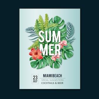 Fête de vacances affiche d'été sur la nature de soleil plage mer.