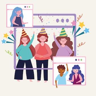 Fête virtuelle, les amis s'amusent dans une vidéoconférence, illustration de fête