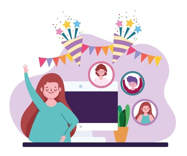 Fête virtuelle, femme communiquant et célébrant l'illustration en ligne à distance