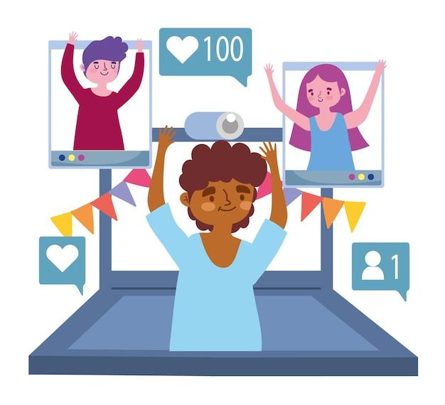 Fête virtuelle, garçon en appel vidéo avec illustration de fête de célébration de personnes