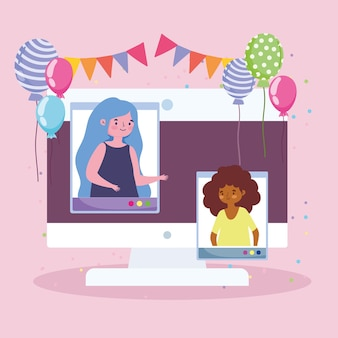 Fête virtuelle, gens de célébration en ligne connectés par illustration d'ordinateur