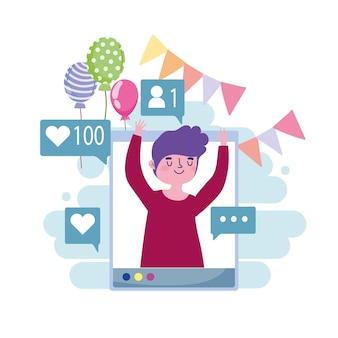 Fête virtuelle, illustration de célébration mobile jeune homme