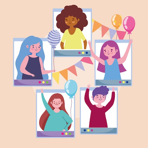 Fête virtuelle, jeunes célébrant avec des ballons fanions illustration festive