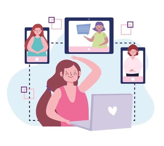 Fête virtuelle, personnes connectées par des appareils, illustration de fête en ligne de célébration de réunion