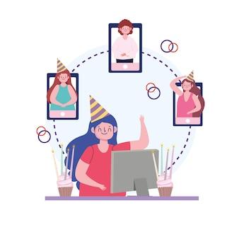 Fête virtuelle, personnes faisant une fête en ligne grâce à l'illustration d'appel vidéo