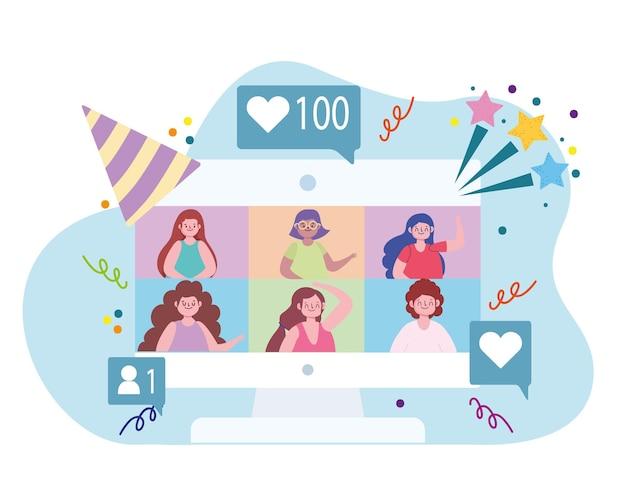 Fête virtuelle, rencontre, vidéoconférence, illustration de fête de célébration à la maison
