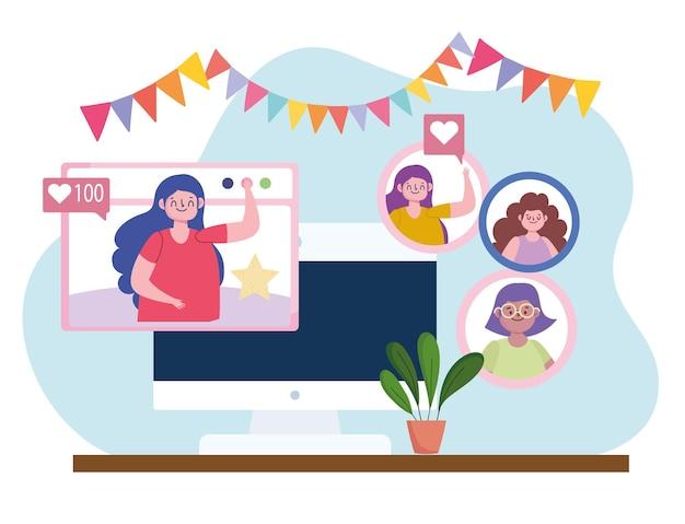 Fête virtuelle, réunion à distance d'amis célébrant l'illustration de l'événement