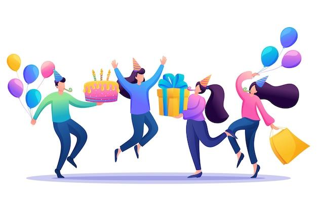 Fêtez l'anniversaire dans un cercle de meilleurs amis, amitié.