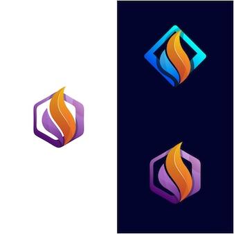Feu abstrait avec modèle de logo de cadre