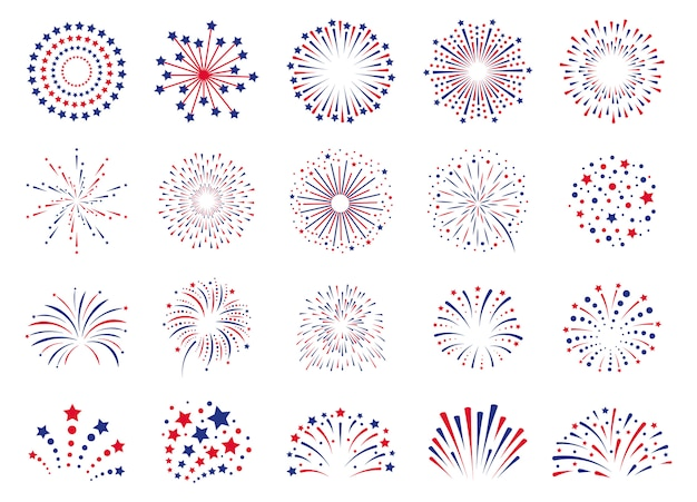 Feu d'artifice le 4 juillet. pétard de festival de célébration, explosion de feu d'artifice de fête, jeu d'icônes d'explosions de feu d'artifice de carnaval. feu d'artifice d'explosion à noël, nouvel an, illustration de carnaval festival