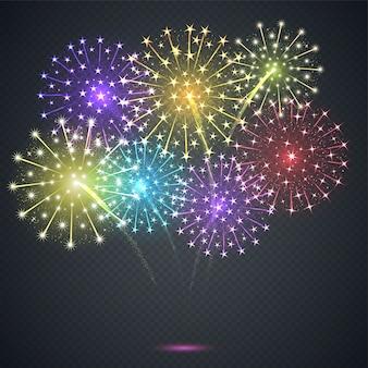 Feu d'artifice. explosion festive sur fond transparent