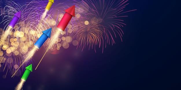 Feu d'artifice et fête de célébration sur le thème de noël conception de fond de bonne année