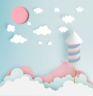 Feu d'artifice de fusée avec fond ton pastel dans l'art papier