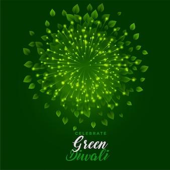 Feu d'artifice vert avec des feuilles pour une joyeuse fête de diwali
